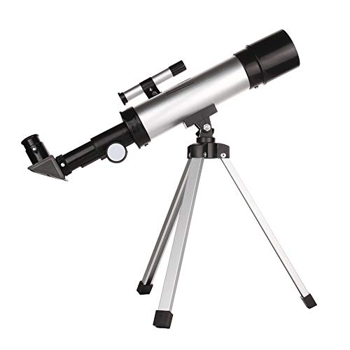 WyaengHai Telescopio Refractor Astronómico Refractivo Monocular Telescopio Astronómico Set Espejo Celeste Borrar Imagen 90X para Niños Principiantes, metal, blanco, 34x45cm