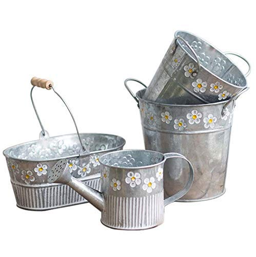 Cratone Plant Pot Vintage Metal Cactus Planters Garden Shabby Vase Pot Flower Stand Plant Bucket for Home Garden Office