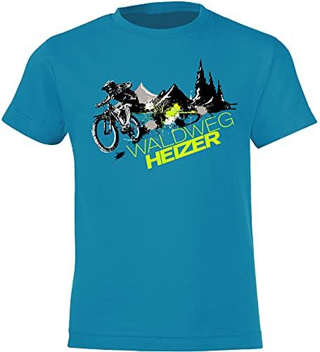 Kinder Fahrrad T-Shirt: Waldweg Heizer - Geschenk-e Jungen & Mädchen - Radfahrer-in Mountain Bike MTB BMX Roller Rad Outdoor Junge Kind - Schule Sport Trikot Geburtstag (Atoll 134-146)