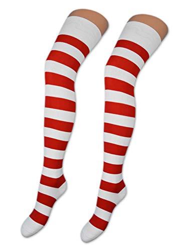 sockenkauf24 2 Paar Overknee Strümpfe Baumwolle Socken Overknees in vielen Farben und Mustern - Ringel und Uni - 10723 (39-42, 2 x Ringel Rot/Weiß)