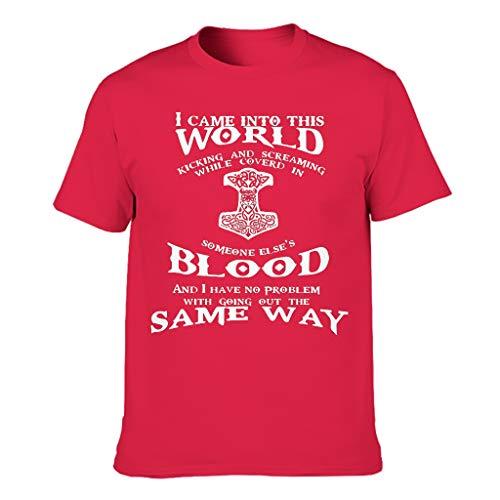 Wikinger treten und schreien T-Shirt Baumwolle Hochwertig Viking Arbeitskleidung für Student red XL