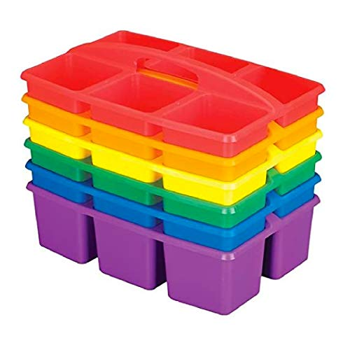 Really Good Stuff Six-Equal-Compartment Caddies, Set of 6, Assorted Colors – Plastic Caddy Organizers with Built-in Handles and Stackable Design, Classroom Storage Made Easy