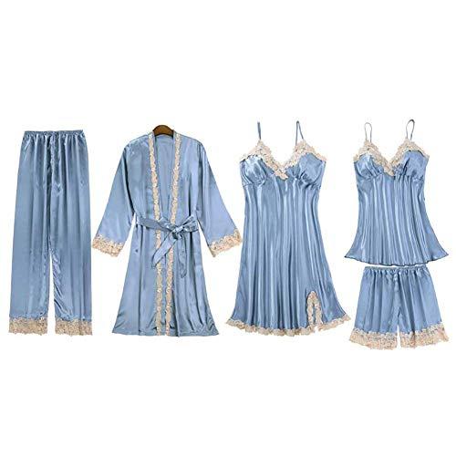 JUNGEN Conjunto de Pijamas de Mujer 5 Piezas Pijamas de Tirantes con Bata y Cortos y Pantalon Largo Ropa de Dormir Ropa de Dormir con Encaje y Diseño Cuello en v para Verano L (Gris Azul 2)