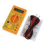 RoxTop DT-830D mini bolsillo multímetro digital 1999 puntos de AC/DC voltios amperios Ohm diodo HFE del probador de continuidad del amperímetro del voltímetro óhmetro (amarillo)
