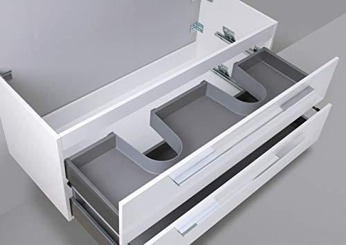 Intarbad ~ Waschtisch Unterschrank zu Villeroy & Boch Subway 2.0 Doppelwaschtisch 130cm Waschbeckenunterschrank Weiß Hochglanz Lack IB600