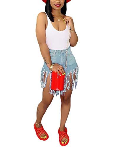 SIAEAMRG Women's Juniors Denim Shorts, High Waisted Frayed Raw Hem Tassels Short Pants Jeans (Light Blue, XL)