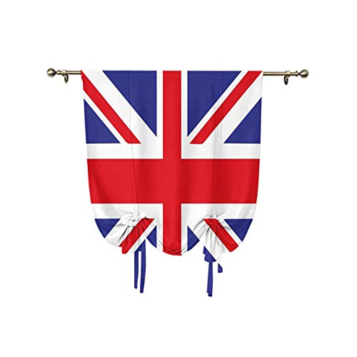 Union Jack Small Window Curtain,Classic Traditional Flag United Kingdom Modern British Loyalty Symbol Decorative Thermal Insulated Rod Pocket Curtain,24x47 Inch,for Home Decoration Royal Blue Red Whit