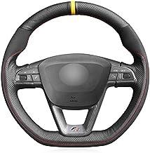 HCDSWSN Cuero Negro de Microfibra Gamuza Cubierta del Volante del Coche para Seat Leon Cupra R 2013-2019 Leon ST Cupra 2013-2019 Leon ST Cupra 2013