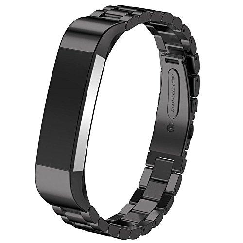 HappyTop Cinturino di orologio da polso in acciaio inox 14mm per Smart Watch Fitbit Alta HR, Uomo, Black, S
