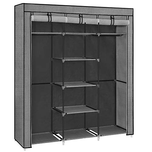 SONGMICS Fabric Wardrobe, Clothes Storage Organiser with 2 Clothes Hanging Rails, Non-Woven Fabric Cover, Shelves, 150 x 45 x 175 cm, Herringbone Pattern, Grey RYG012G22