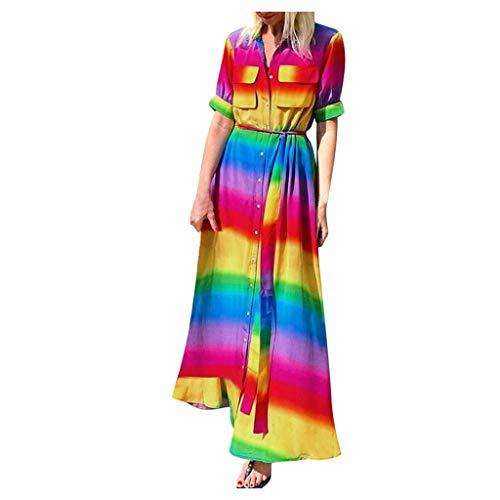 ReooLy Vestido Bohemio con cinturón de Botones de arcoíris Diario Degradado Diario Tie-Dye para Mujer(Multicolor,XL)