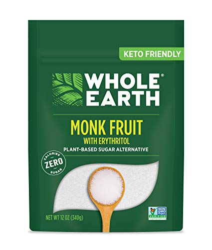 WHOLE EARTH Monk Fruit Sweetener with Erythritol, Plant-Based Sugar Alternative, 12 Ounce Pouch
