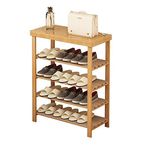 ZGQA-GQA Bastidores del zapato de 4 niveles de bambú zapato de almacenamiento en rack plataforma ideal for Puerta de entrada Pasillo Baño Sala y pasillo ahorro de espacio Fácil Ensamble (Color: Nogal,