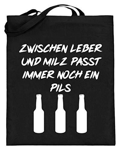 Spiritshop: entre el hígado y el bazo se adapta a un Pils – Fiesta de bebidas alcohólicas – Bolsa de yute (con asas largas), Algodón, Negro, 38cm-42cm