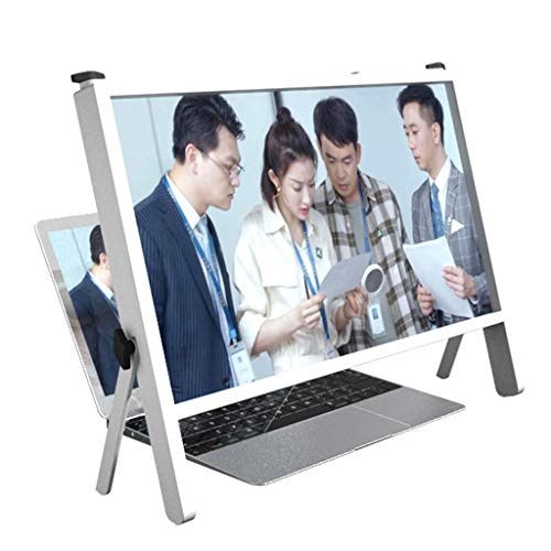 """Bot 3D Laptop Screen Magnifier Protector Holder, 21"""" Foldable Computer Laptop Phone Holder Stand, Computer Phone Screen Magnifiers Holder with Adjustable Angle Design (Color : White)"""