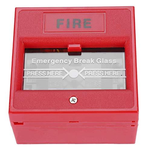 Botón de emergencia contra incendios, botón de alarma de rotura de cristal, 3A @ 36VDC Max a prueba de fuego en interiores para puertas de emergencia Puertas de salida al aire libre