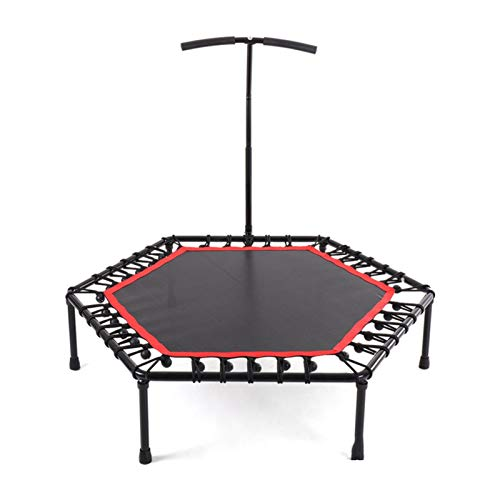 LXF JIAJU Nuevo De 48 Pulgadas Mute Profesional Fitness Impermeable Adulto Durable Trampoline con Handrai Ajustable Trampoline Indoor para Niños (Color : Black with Handrail)