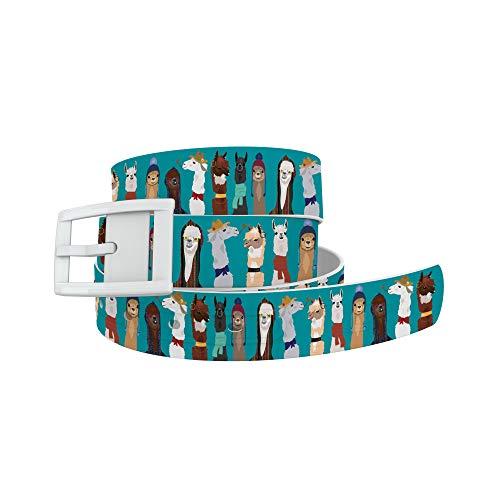 C4 Design Belt - Llama Love Belt with White Buckle - Fashion Waist Belt for Women and Men