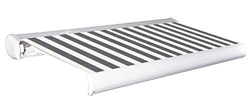 Jet-Line Vollkasette Sunshade 5m grau-Weiss aus Aluminium inkl. Motor, Fernbedienung Nothandkurbel Aluminium Rolle und Gehäuse UV Schutz Terasse Balkon mit Halter Wandmontage