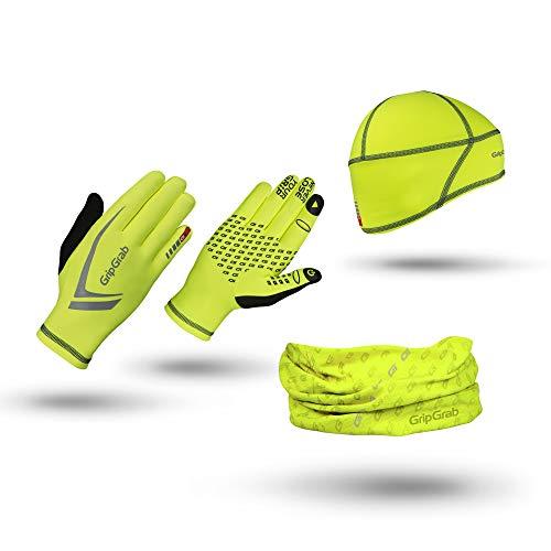 GripGrab Unisex– Erwachsene Running Winter Geschenkbox 3er Pack für Läufer mit Touchscreen Handschuhen Thermo Mütze Halstuch Geschenkset, Yellow Hi-Vis, S