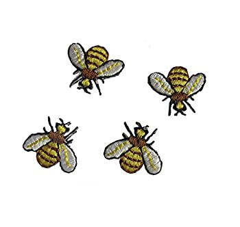 Lot 4 Pcs Wildlife Bugs Flying Bees Iron On Embroidered Applique Patch by ETDesign  5/8  by 5/8