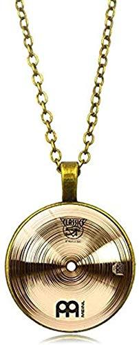 ZPPYMXGZ Co.,ltd Halskette Mode Vintage Legierung Glas Runde Cabochon Halskette Anhänger Halskette Schlagzeuger Becken Halskette Frauen Schmuck