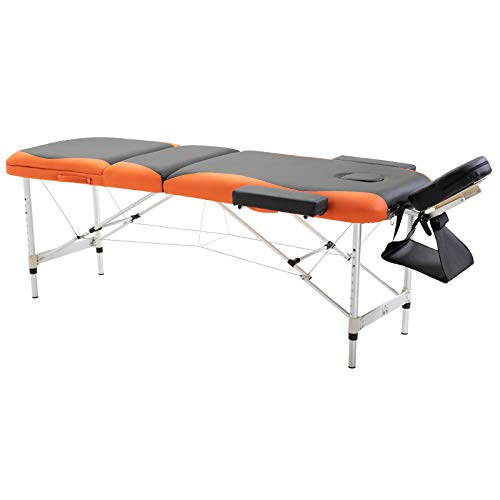 HOMCOM Cama De Masaje Aluminio Plegable 185x60cm Tatuaje Terapia Cama Negro Naranja