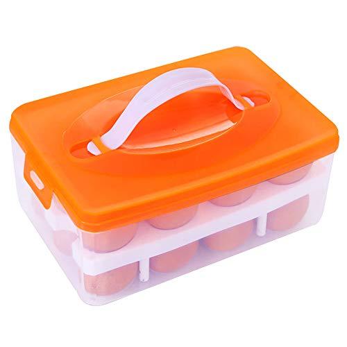 Bohao Eieraufbewahrung Eierbox Große 24er Kapazität Doppellagen Halter Körbe Organizer Vorratdosen mit dem Griff für Picknick und Kühlschrank