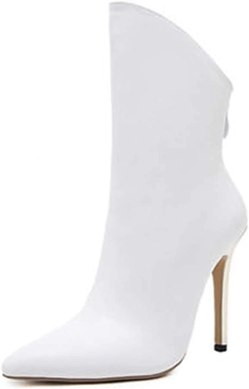 SANOMY Women Stiletto Heel Booties Sexy Pointed Toe Ankle Boots Zip-Up Wide Calf Chelsea Boots, White