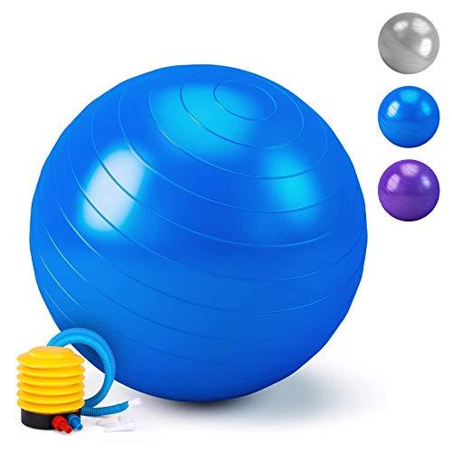 HebyTinco Pilates Ball, Gymnastikball, Yoga Ball für Erwachsene Sitzball Stuhl, Dicker Gymnastikball inkl Ballpumpe, für Yoga, Geburt, Schwangerschaft, Pilates, Rumpfstärkung, Fitness (Blau, 55)