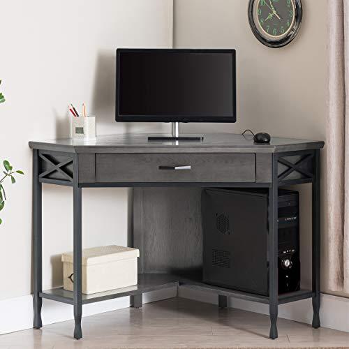 Leick Furniture Chisel & Forge Corner Writing Desk, Smoke Gray/Matte Black