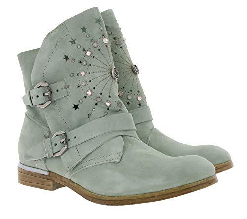 Arizona Schuhe Echtleder-Boots Moderne Damen Stiefel mit Ziersteinen Stiefelette Booties Mint, Größe:39