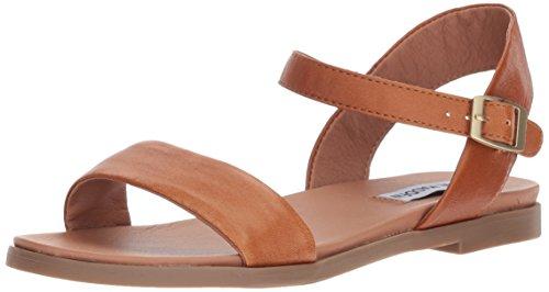 Steve Madden Women's Dina Flat Sandal, Tan Leather, 7.5 M US