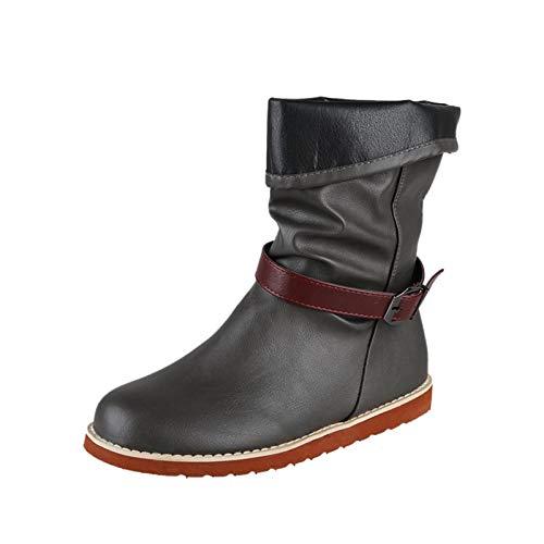 Stivali da Donna Flat Slip On Solid Fashion Casual Round Toe Belt Shoes (39,Grigio)