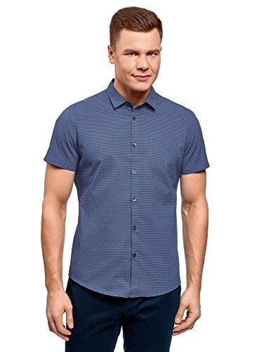 oodji Ultra Herren Bedrucktes Hemd mit Brusttasche, Blau, 52-54