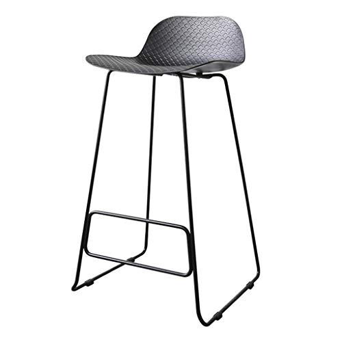 WWWWW-DENG barkruk, eetkamerstoel, keukenstoel, poten van metaal, zwart, zithoogte 33 cm, barkruk