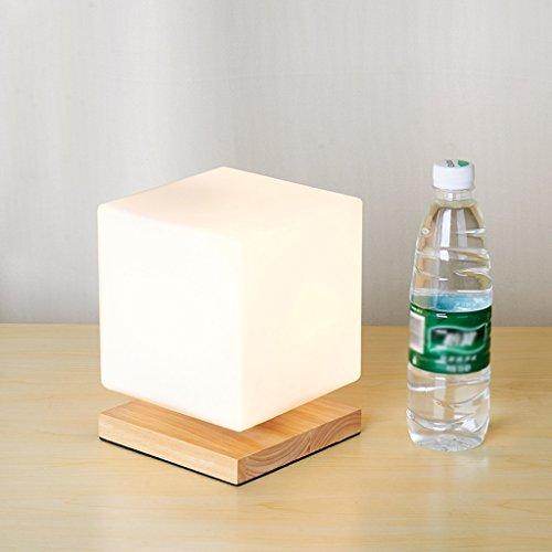 Dimmable lampe LED, éclairage moderne carré de bois de haute qualité, éclairage chambre étude de lit d'énergie, 15 * 19cm ( Color : Wood color )