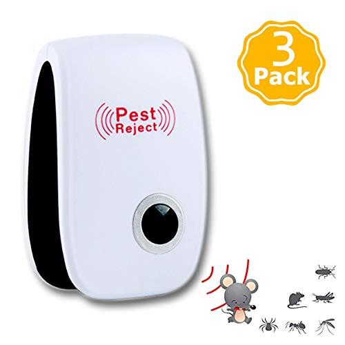 XIGG Repelente electrónico para insectos, repelente de ultrasonidos, repelente electrónico contra parásitos mantiene alejados ratones, ratas, moscas, cucarachas, arañas, mosquitos