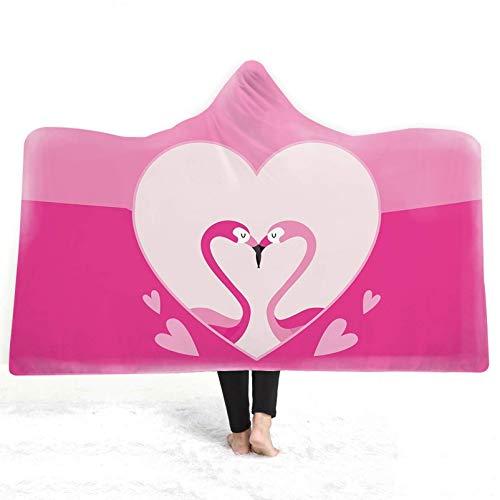 DWSM - Manta de Flamingo de San Valentín, color rosa con forro polar suave y cálida para cama de bebé o sofá (11,150 x 200 cm)