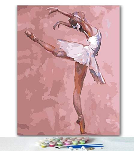 Yqgdss Cuadro De Bailarina De Ballet Abstracta DIY Pintura Al Óleo por Números Dibujo Digital Pintado A Mano Kits Únicos para Colorear Decoración Inicio Lienzo Cepillo Regalo, Marco De Madera