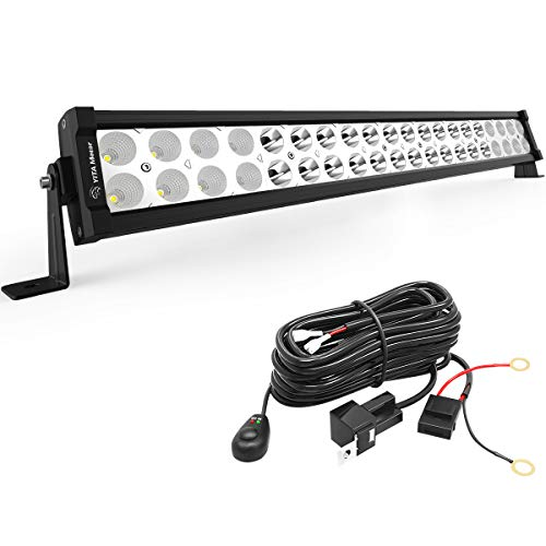 YITAMOTOR 21 Inch Light Bar Offroad Spot Flood Combo Led Bar Waterproof Dual Row LED Work Light with Wiring Harness compatible for Truck, 4X4, ATV, Boat, Jeep, LED Light Bar 120W White