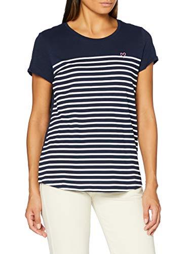 TOM TAILOR Denim Damen Streifenprint T-Shirt, Navy Off White Strip, S
