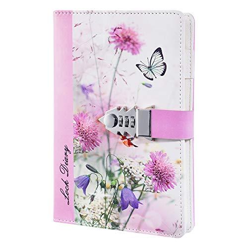 ZXHQ - Diarios recargables de piel sintética para niñas con cerradura, papel alineado combinado, libreta de contraseña, cuaderno de escritura con soporte para bolígrafo, tamaño A5, 210 x 150 mm