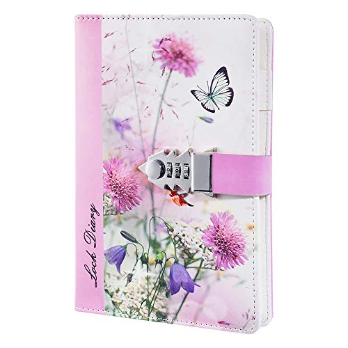 ZXHQ PU Leather Refillable Journals for Girls with Lock, Lined Paper Combination Password Notebook, Writing Notepad Dirary with Pen Holder, A5 Size 210x150mm