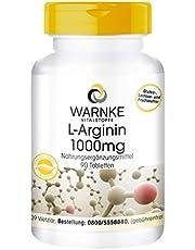 L-Arginine 1000mg - hoge dosering & veganistisch - 1000mg L-Arginine HCl per tablet - 90 tabletten - Made in Germany