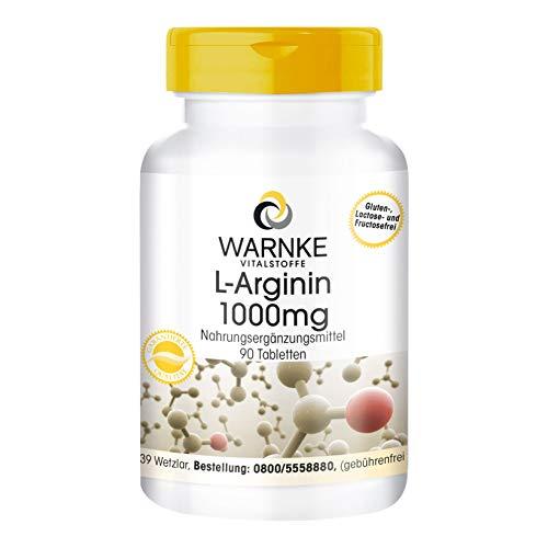 L-Arginin 1000mg - hochdosiert & vegan - 1000mg L-Arginin-HCl pro Tablette - 90 Tabletten