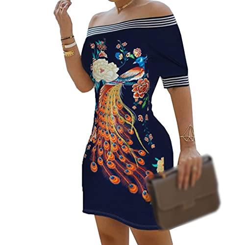 KeYIlowys New One-Shoulder Printed Slim Sexy Kleid Weibliches Retro TräGerloses Cocktailpartykleid
