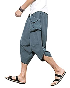 PRIJOUHE Men s Harem Pants Casual Lightweight Elastic Waist Wide Leg Baggy Linen Capri Pants Trousers Gray-Blue