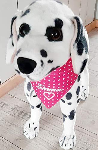 Hundehalstuch als Halsband Verstellbar optional mit Wunsch Namen bestickt pink Dots Halstuch Tuch