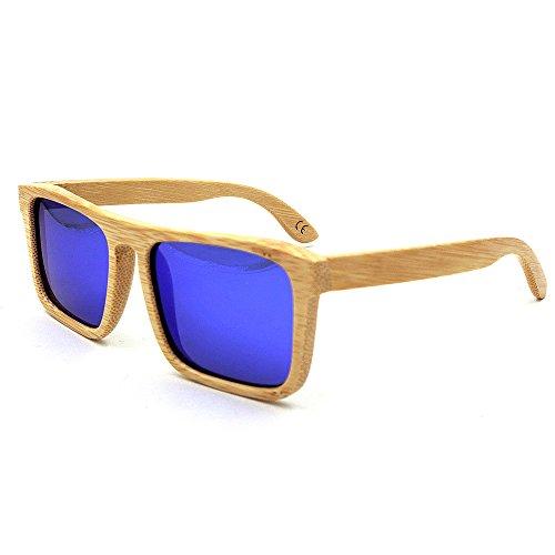 YuFLangel Gafas de Sol al Aire Libre Unisex Gafas de Sol de Madera Marco Cuadrado Hecho a Mano Lente de Color Cuadrado proteccin UV400 para Adulto Unisex Gafas de Sol Unisex Adulto (Color : Azul)